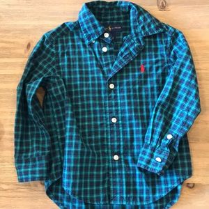 Blue and teal plaid button up long sleeve shirt